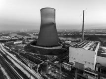 Nuclear power plant sunset sunrise black white Radiation soil environment Royalty Free Stock Photo