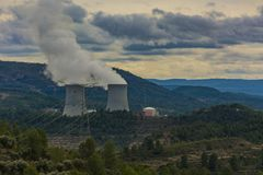 Nuclear power plant with telephoto stock photography