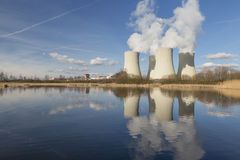 Nuclear power plant Temelin in the Czech Republic reflected in the water Stock Photo