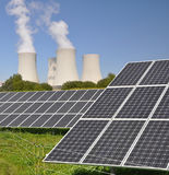Nuclear power plant Temelin and solar panels Royalty Free Stock Photo