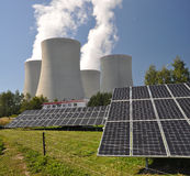 Nuclear power plant Temelin and solar panels Royalty Free Stock Image