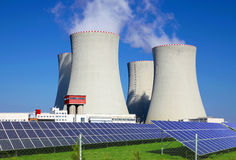 Nuclear power plant Temelin with solar panels in Czech Republic Europe Royalty Free Stock Images