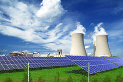 Nuclear power plant Temelin with solar panels in Czech Republic Europe Stock Images
