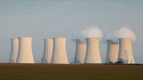 Nuclear power plant - time lapse stock footage