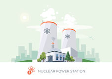 Nuclear Power Plant. Vector illustration of nuclear power plant factory icon with sun and urban city skyscrapers skyline on green turquoise background Stock Illustration