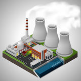 Nuclear power plant. Vector isometric illustration of a nuclear power plant Vector Illustration
