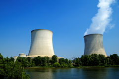 Nuclear power plant waterfront. Front view of some nuclear power plant waterfront Royalty Free Stock Photography
