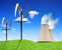 Nuclear power plant and wind turbines. Green energy concept Royalty Free Stock Photo