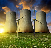 Nuclear power plant with wind turbines Royalty Free Stock Photo