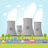Nuclear power plants with road and cars Royalty Free Stock Photography