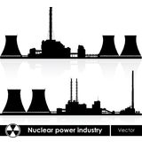 Nuclear power plants silhouettes Royalty Free Stock Image