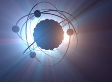 Atomic Nuclear Power Energy. Nuclear power, nuclear reaction or nuclear energy, generating heat in a concept image of a nuclear atomic model vector illustration