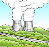 Nuclear power reactor. Illustration of a nuclear power reactor Stock Images