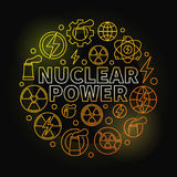 Nuclear power round colorful illustration. Vector round energy yellow concept symbol made with nuclear outline icons on dark background royalty free illustration