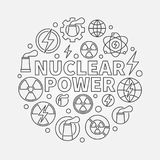 Nuclear power round illustration. Vector round energy concept symbol made with nuclear icons in thin line style vector illustration