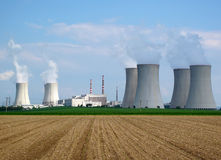 Nuclear power station. View on nuclear power plant in sunny weather. Dukovany, Czech Republic, EU Royalty Free Stock Photography