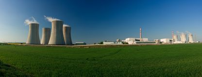 Nuclear power station. Panorama of buildings at a nuclear power station