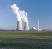 Nuclear power station and blue sky countryside Stock Images