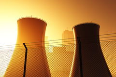 Nuclear Power Station Cooling Towers Sunset. Sunrise 3d render Royalty Free Stock Photos