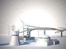Nuclear Power Station - 3d Illustration Royalty Free Stock Image