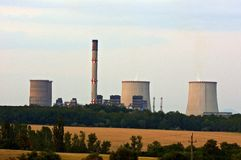 Nuclear power station at dusk Royalty Free Stock Photos