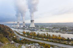 Nuclear Power Station In The Evening Stock Photo