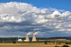 Nuclear power station Grohnde in summer Royalty Free Stock Photo