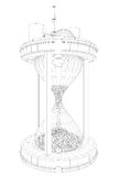 Nuclear power station on huge clock. Illustration of nuclear waste and pollution Stock Image