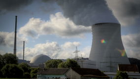 Nuclear Power Station. Isar in Lower Bavaria stock video footage