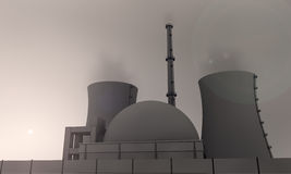 Nuclear power station late in the evening. Illustration of nuclear power station in the evening Royalty Free Stock Photo