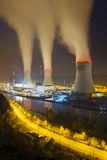 Nuclear Power Station At Night Stock Photos