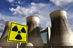 Nuclear power station realistic 3D render with rea Stock Images