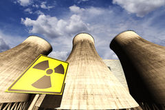Nuclear power station realistic 3D render with rea Stock Photo