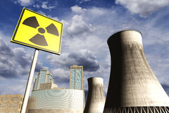 Nuclear power station realistic 3D render with rea Stock Photos
