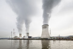 Nuclear Power Station By River Stock Photography