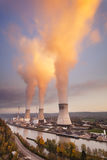 Nuclear Power Station At Sunset Stock Photography