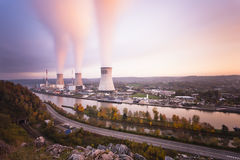 Nuclear Power Station At Sunset Stock Images