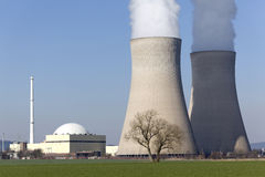 Nuclear Power Station with Two Cooling Towers Stock Image