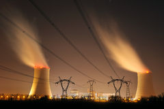 Nuclear power two. Nuclear power plant in southern France Stock Photos