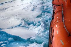 Nuclear-powered icebreaker solivet powerful first-year ice Stock Photos