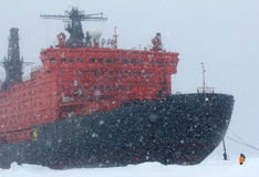 Nuclear-powered icebreaker took expedition to North pole Stock Image