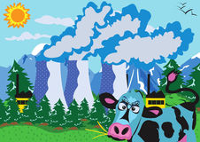 Nuclear powerplant and cow. Vector illustration of a nuclear powerplant and a cow Stock Photography