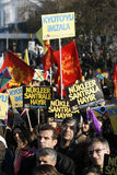 Nuclear protest. Unidentified activists gather at a demonstration against nuclear power on November 8,2007,in Istanbul,Turkey Stock Photography