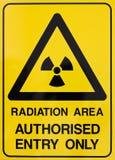 Nuclear radiation warning sign. Nuclear radiation or radioactivity warning sign Stock Images