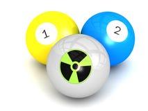 Nuclear Radioactive sign on billiard ball. An illustration of a nuclear radioactive sign on a white billiard ball Stock Image