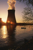 Nuclear reactor. At  the sunset Royalty Free Stock Photography