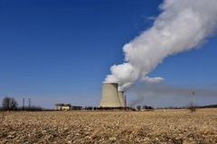 Nuclear reactor containment buildings and cooling towers stock images