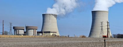 Nuclear reactor containment buildings and cooling towers stock photo