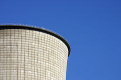 Nuclear reactor (copy space). Edge of a cooling tower at a nuclear power plant.  Plenty of space for copy Royalty Free Stock Photos