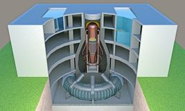 Nuclear reactor in section. Cutaway. 3d rendering Stock Images